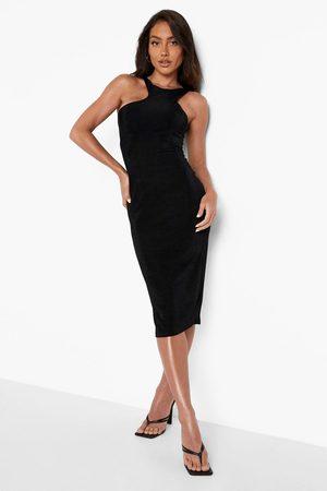 Boohoo Slinky Asymetric Sleeveless Midi Dress