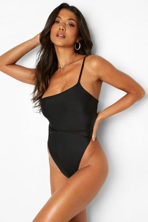 Boohoo Single Strap Belted High Rise Swimsuit