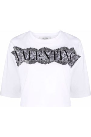 Valentino Dame Kortermede - Lace-panel cropped T-shirt