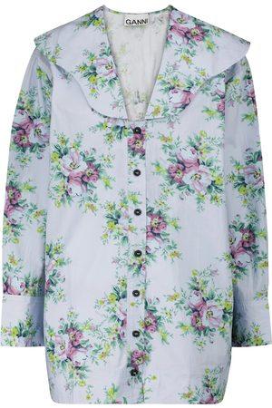 Ganni Floral cotton poplin blouse
