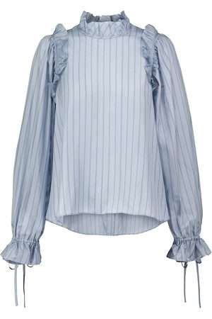 NOIR KEI NINOMIYA Striped ruffled blouse