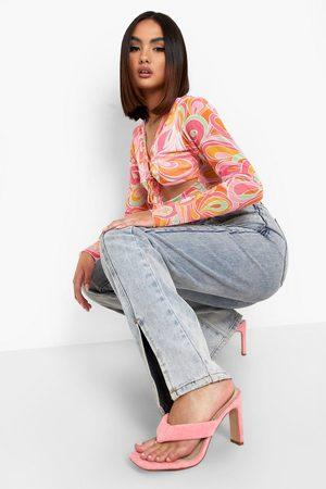 Boohoo Dame Flip flops - Wide Fit Sqaure Toe Post Mules