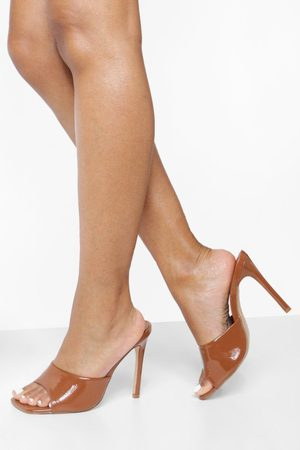 Boohoo Dame Flip flops - Wide Fit Patent Square Toe Mules