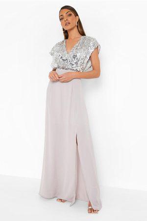 Boohoo Sequin Wrap Side Split Maxi Dress