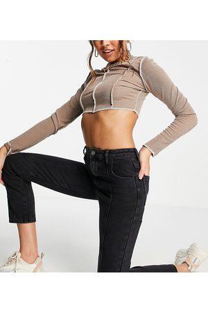 AsYou Dame High waist - Slim seam detail mom jean in washed black