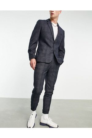 ASOS Herre Chinos - Tapered suit trouser with cuff in navy check