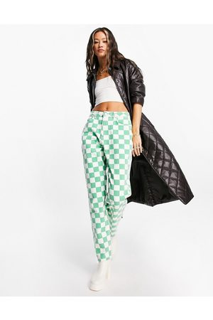 ASOS DESIGN High rise 'slouchy' mom jeans in green check
