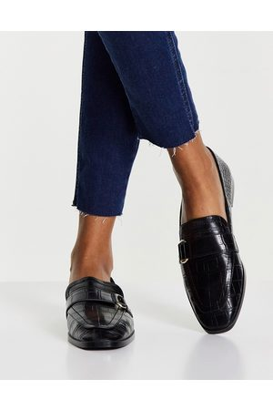 MANGO Dame Loafers - Flat shoes with buckle detail in black croc