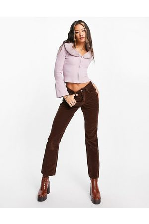 ASOS DESIGN Low rise rigid flared jeans in chocolate cord-Brown