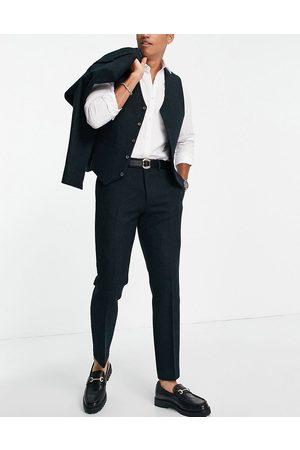 ASOS DESIGN Herre Chinos - Slim suit trousers in 100% wool Harris tweed in forest green