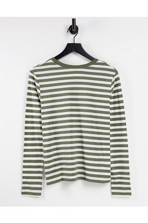 Selected Femme organic cotton t-shirt with long sleeves in khaki stripe-Multi