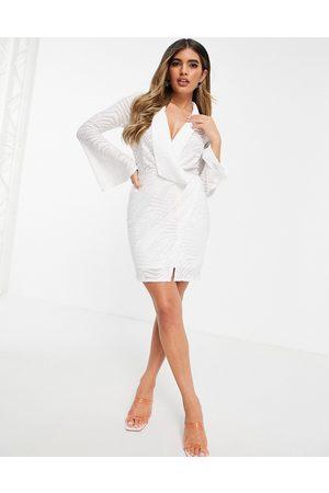 ASOS Burnout draped wrap tux mini dress in ivory-White