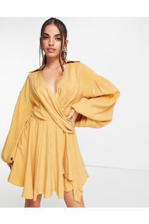 ASOS Cupro blouson shirt mini dress with drape detail-Yellow