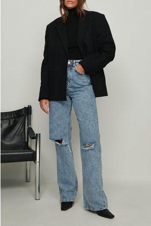 NA-KD Dame High waist - Syrevasket vid hullete jeans
