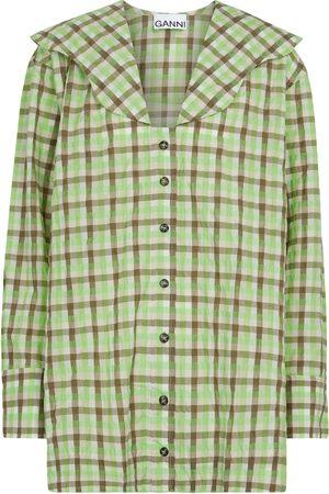 Ganni Seersucker organic cotton-blend blouse