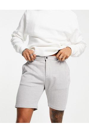 Mauvais Herre Sett - Zig zag knit shorts co-ord in grey