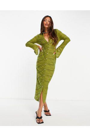 ASOS Dame Bodycon kjoler - Cut out shirt bodycon midaxi dress in olive green