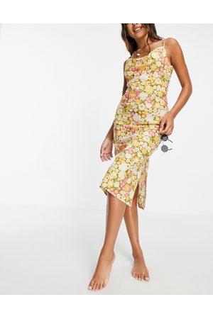 ASOS Dame Bodycon kjoler - Cowl midi slip low back beach dress in retro floral print-Multi