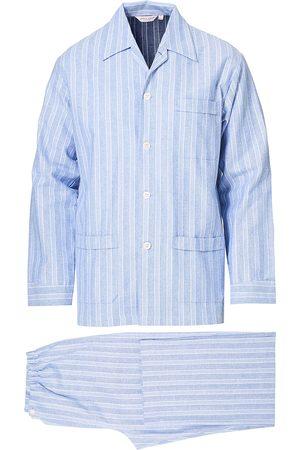 DEREK ROSE Herre Pyjamaser - Brushed Cotton Flanell Striped Pyjama Set Blue