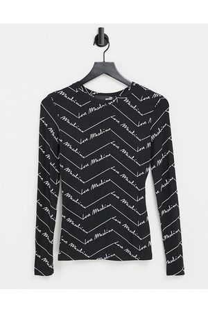Love Moschino Dame Langermede - Allover logo long sleeve top in black