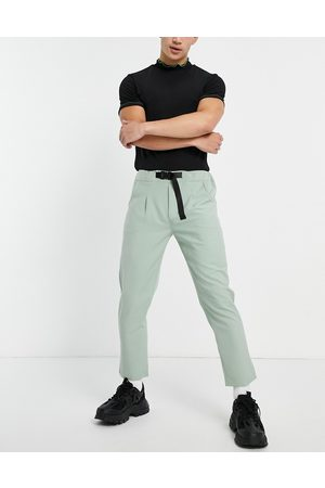 Sixth June Skinny trousers in dusty green with belt detail