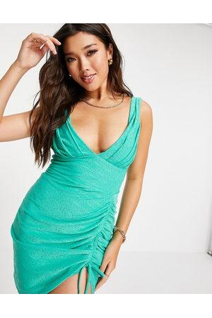 ASOS DESIGN Broderie plunge side ruched mini dress in sage-Green