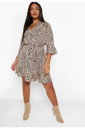 Boohoo Dame Hverdagskjoler - Plus Woven Animal Print Wrap Dress