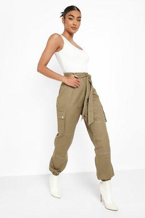 Boohoo Dame Cargobukser - Contrast Stitch Cargo Trousers