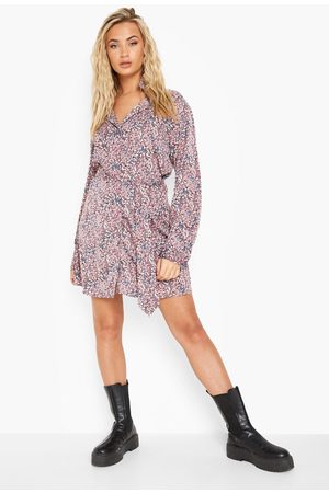 Boohoo Leopard Print Satin Belted Shirt Dress