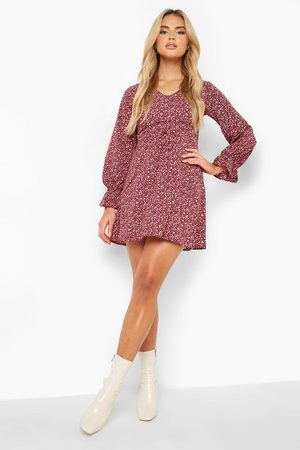 Boohoo Leopard Print Flared Sleeve Skater Dress