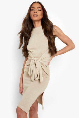 Boohoo Rib Knit Tie Waist Side Split Midi Dress