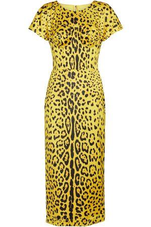 Dolce & Gabbana Leopard-print stretch satin midi dress
