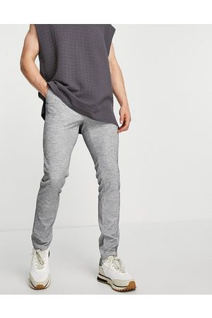 ASOS DESIGN Skinny smart trousers co-ord with drawcord waist in jersey rib grey