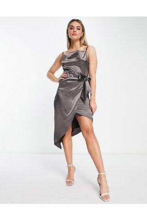 TFNC Satin wrap dress in grey