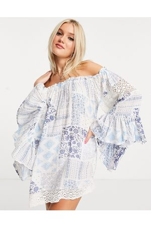 White Cabana Off the shoulder beach dress in blue patch work print