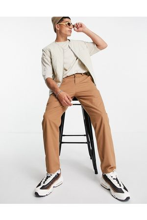 ASOS Lightweight skater fit trousers in brown