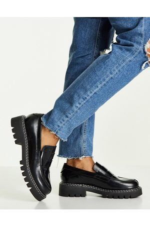 SELECTED Femme leather loafers in black