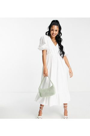 In The Style Tall X Lorna Luxe textured puff sleeve wrap dress in white