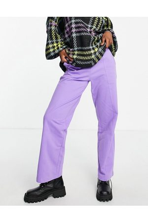 ASOS DESIGN Low rise straight leg jogger with pintuck in purple
