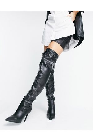 ASOS DESIGN Kempton pull on over the knee boots in black