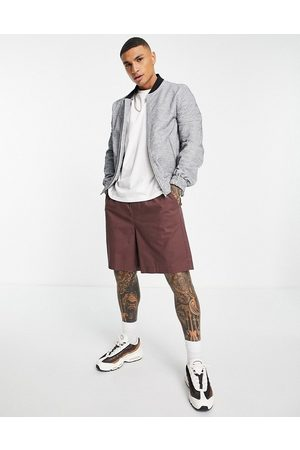 ASOS DESIGN Co-ord smart bomber with jersey rib in grey