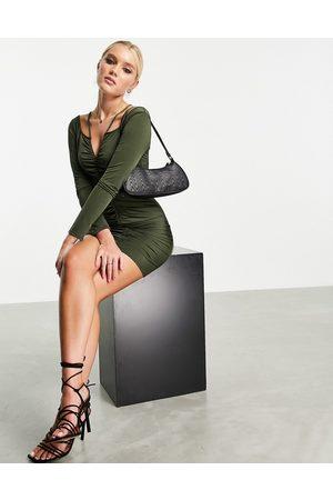 Miss Selfridge Dame Selskapskjoler - Ruched slinky mini dress in khaki-Green