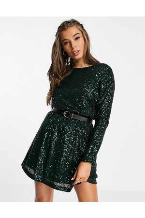 Forever New Dropback batwing mini dress in forest green