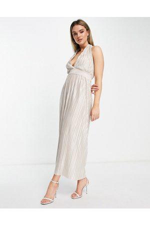 TFNC Dame Midikjoler - Pleated metallic midi dress in cream-White