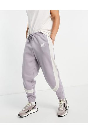 ASOS Oversized joggers in grey colour block with rib details-Purple