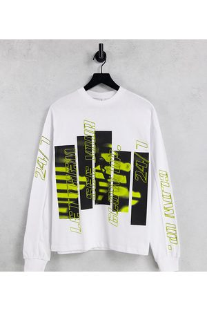 AsYou Long sleeve oversized t-shirt with spliced glow up print in white