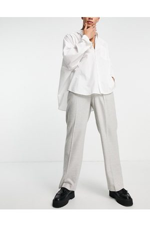ASOS Herre Chinos - High waist wide leg wool mix suit trouser in ice grey twill