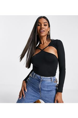 AsYou Cut out strap detail long sleeve top in black