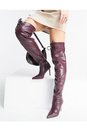 ASOS Dame Høye støvletter - Kempton pull on over the knee boots in burgundy-Red