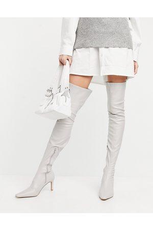 ASOS DESIGN Dame Høye støvletter - Kaye stretch over the knee boots in off white